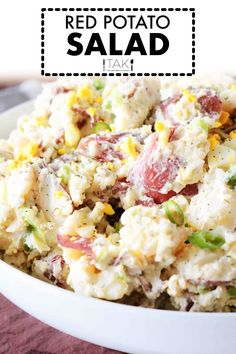 Red Potato Saladis side dish perfect for feeding a crowd! Red Potatoes are mixed with hard-boiled eggs, celery, and green onions, coated in a simple dressing of sour cream, mayonnaise, and dijon mustard, and finished off with a sprinkle of tangy dill. It's best served at BBQ's, potluck parties, and holiday gatherings! Best Ever Potato Salad, Loaded Potato Salad, Best Potato Salad Recipe, Potato Salad Dill, Southern Potato Salad, Red Potato Recipes, Dill Recipes, Potato Salad With Egg, Easy Salad Recipes