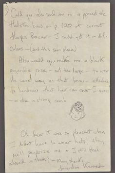 Jackie Kennedy wrote Marita O'Connor to requesting a bow and an organdy rose for her hats.