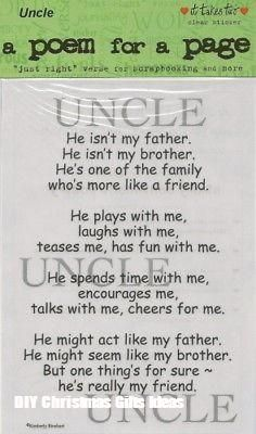 UNCLE Sticker Poem Scrapbooking Family Kids Crafts Family Relatives is part of Birthday crafts For Uncle Uncle Poem for a Page Sticker, from It Takes Two Printed on acid free clear stock The entire -