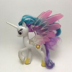 "My Little Pony PRINCESS CELESTIA Brushable Hair G4 6"" Glitter Wings 2016 Hasbro"