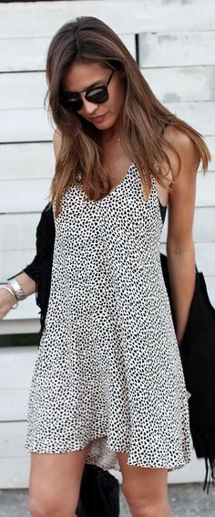 Zara Black And White Spotted Loose Shift Dress