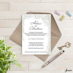 RSVP de la invitación de boda imprimibles y plantillas de información | Sauce - hojas, árbol de plata | Plantilla editable |  Plantilla de Word