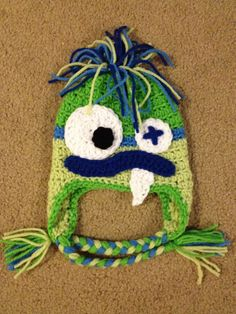 Baby Newborn Monster Beanie Hat Crochet Made to Order Photo Prop Earflaps. $18.00, via Etsy.