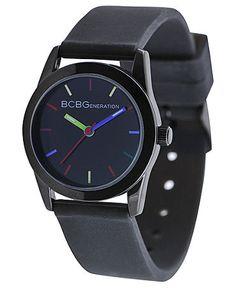 BCBGeneration Watch, Women's Black Silicone Strap