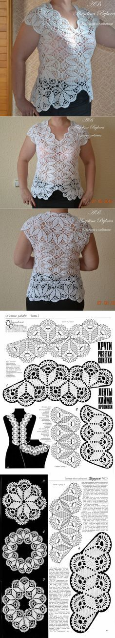 Beautiful top from Angelina Bykova Crochet Woman, Love Crochet, Irish Crochet, Crochet Lace, Lace Patterns, Blouse Patterns, Gilet Crochet, Crochet Cardigan, Crochet Dresses