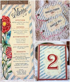 Colorful Watercolor Wedding Reception Menu, Escort Tag, Table Number | Sunshine and Ravioli