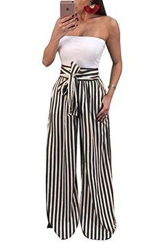 Sleeveless Tops Work Formal Pants Overalls Long Jumpsuit with Belt Hemlock Women Stripe Print Jumpsuit