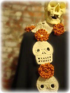 skull and flower crochet scarf