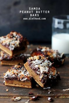 Gluten free and delicious Peanut Butter Bars topped with all the sweet Samoa cookie fixings!