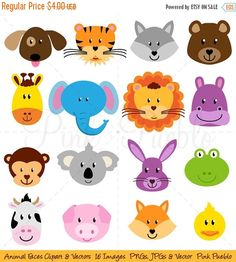 Our Animal Faces Clipart set includes 16 PNG files with transparent backgrounds, 16 JPG files with white backgrounds and 1 Adobe Illustrator vector file. The PNGs and JPGs 300dpi and approximately 10 inches at their widest point.  We are always BUY THREE GET ONE FREE! Buy any three items in our shop and get another item free! The lowest priced item of the four items is free; just purchase three items and list which additional digital item you would like free in the comments to seller section…