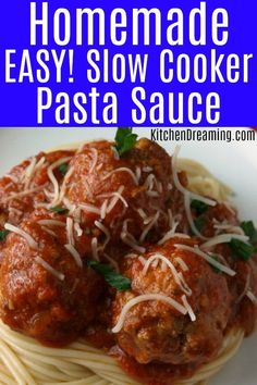 Homemade Spaghetti Sauce is very simple to prepare and with this recipe, isn't a labor of love. It's super EASY to make and simmers right in the slow cooker. This sauce is low-calorie too, making it a very figure-friendly addition to your weeknight meal plan.   #Easy Spaghetti Sauce #Slow Cooker Pasta Sauce #Kitchen Dreaming via @rjeagle12