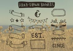 Hand-Drawn Banners and Frames Graphics Charming hand-drawn banners, ribbons, and other vintage-inspired elements! One-of-a-kind! Available by Shelly Laslo