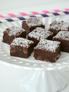 Vegan Brownies ~    This is a fudgy, chewy, chocolatey delicious brownie. You'd never know they were vegan, and you'd never know they had applesauce in them. Now, they still have oil and sugar…so they aren't totally guilt-free…but oil is better than butter, right?!    Recipe @  http://www.crazyforcrust.com/2013/01/vegan-brownies/