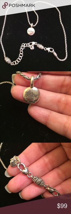 Brighton believe pendant and necklace Silvertone.  In used condition with minimal wear.  Final sale Brighton Jewelry Necklaces
