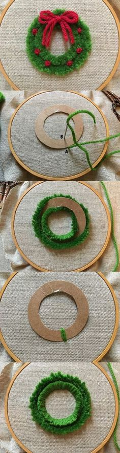 feeling stitchy: MooshieStitch Monday: Plushwork Wreath Quick and easy diy wreath for Christmas decor! Christmas Sewing, Christmas Embroidery, Hand Embroidery, Christmas Wreaths, Christmas Gifts, Christmas Ornaments, Winter Christmas, Christmas Cross Stitches, Knitted Christmas Decorations