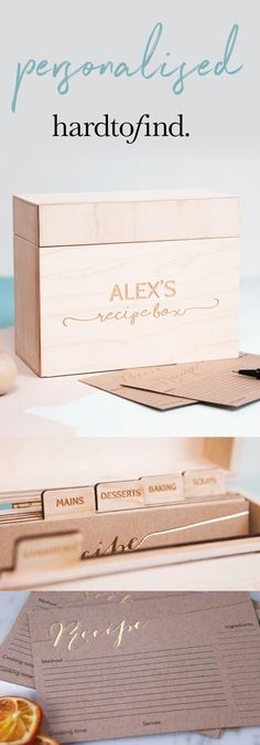 Keep your favourite dishes on file. Keep your culinary conquests organised with this personalised recipe box, elegantly engraved, with five recipe card dividers. Include a set of recipe cards to note your tried and tested recipes!