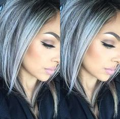 Silver gray ombre hair color ideas for short hair managed to supplant the burnin. - - Silver gray ombre hair color ideas for short hair managed to supplant the burning red, cold blue and ext. Silver Ombre Hair, Dyed Hair Purple, Ombre Hair Color, Hair Colour, Gray Ombre, Gray Hair Colors, Gray Purple Hair, Dyed Gray Hair, Grey Ombre Hair Short
