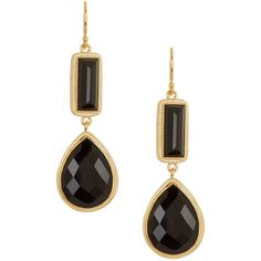 100442362 Anna Beck Black Onyx Double Drop Earrings ($149) ❤ liked on Polyvore  featuring jewelry