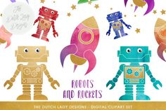 Robot & Rocket Space Clipart Set By The Dutch Lady Designs