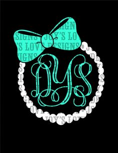 Pearl and Bow Monogram Frame SVG and DXF Digital Download