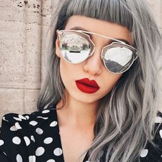 Make-up: silver hair bangs hairstyles sunglasses silver sunglasses dior sunglasses mirrored