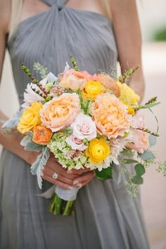 Grey Bridesmaids Dress with Orange Bouquet Floral Wedding, Wedding Colors, Wedding Bouquets, Wedding Day, Yellow Wedding Flowers, Autumn Wedding, Purple Wedding, Yellow Flowers, Wedding Reception