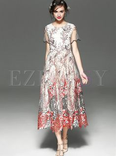 616db1fac8e Shop for high quality Sweet O-neck Short Sleeve Maxi Dress online at cheap  prices
