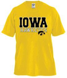 Gold Iowa Hawkeyes Tshirt with Tiger Hawk  by Russell©
