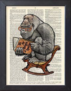 Gorilla poster, Ape Charles Darwin book print, inspirational funny poster, Dictionary Pages funny print, home dorm decor, CODE/229