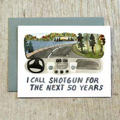 I Call Shotgun Greeting Card Watercolor Valentine Card  Art