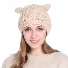 Cat beanie hat with ears for women cable knit hats winter wear 3ef9233b57cb