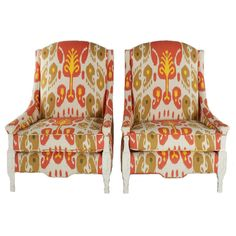 Ikat Mid-Century Hollywood Regency Chairs