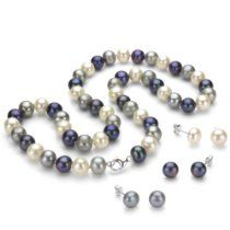 "Sterling Silver 8-9mm Dyed-multicolor Freshwater Cultured Pearl Necklace 18"" & 3 Pairs Stud Earrings"