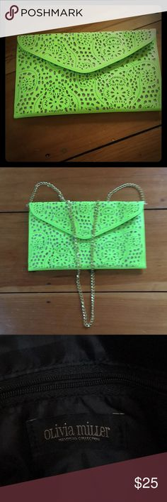 Olivia Miller Clutch Fun! Large clutch with removable gold shoulder strap. Neon green and gold detail. Perfect condition. Olivia Miller Bags Clutches & Wristlets