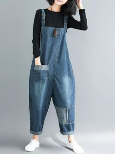 Wardrobe Hit Overall Dungarees - Eva Trends Funky Fashion, Look Fashion, Urban Fashion, Hijab Fashion, Fashion Outfits, Denim Jumpsuit, Dungarees, Women's Overalls, Suspender Jeans