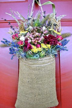 Great idea for easily changing out the flowers on your door too! Dried Flower Wreath/ Dried Floral Wreath/ Burlap Wreath