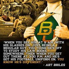 Coach Art Briles' favorite nickname for #Baylor QB Bryce Petty? Clark Kent.