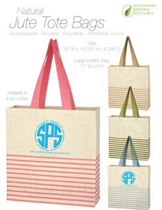 Natural Jute Tote Bags available in 4 fun colors. Great for branding, gifts, events, advertising, marketing and more. Large imprint area for your brand, logo or art. Eco-Friendly: Biodegradable, Reusable, Recyclable, Renewable Source