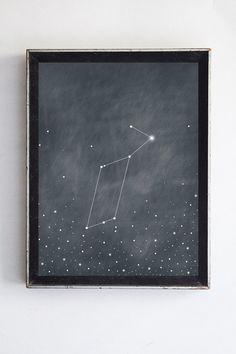 Lyra Constellation, Vega Star Night Sky Fine Art Print Home Decor Wall Art Grey Blue Poster, Night Sky Print Constellation Home Decor
