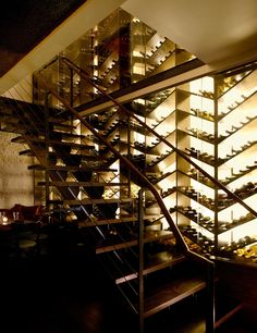 Wine, wine, wine, wine, wine, wine!  Although it may be a bit grandiose, this herringbone style wine rack really makes quite statement about the owner's love for wine.
