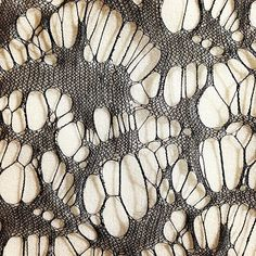 Silk lace knit sample; distressed textiles design; knitwear; textile manipulation