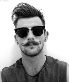 black and white,boys,ray ban,hipster,perfect,mustache,plugs by girlpanic