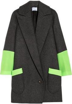 Chalayan Signature Station Pocket Neon Mesh and Woolfelt Coat - Lyst