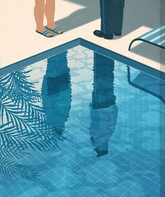 Emiliano Ponzi—The Indiscreet Charm of the Bourgeoisie (The New York Times, July 'Summer House With Swimming Pool' Art And Illustration, Illustration Design Graphique, Art Graphique, Illustration Editorial, Photography Illustration, Art Illustrations, Inspiration Art, Art Inspo, Art Amour