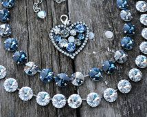 "Swarovski Crystal 12mm Rivoli ""Denim and Diamonds"" Choker set in Antique Silver."