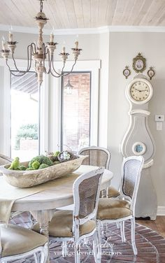 Gorgeous mora clock in the vintage French chateau style home!