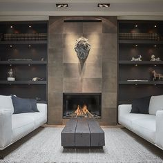 Home Fireplace, Fireplace Remodel, Modern Fireplace, Living Room With Fireplace, Fireplace Surrounds, Fireplace Design, Fireplaces, Interior Design Living Room, Living Room Designs
