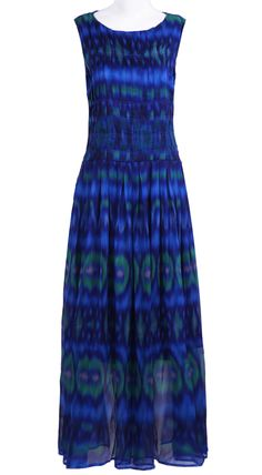 #SheInside Blue Sleeveless Dip Dye Feather Print Maxi Dress - Sheinside.com