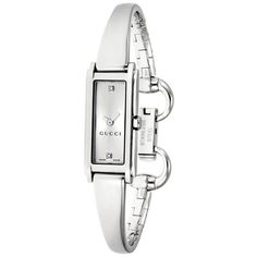 Gucci 109 Silver Dial Stainless Steel Ladies Watch ($395) ❤ liked on Polyvore featuring jewelry, watches, analog watches, rectangle watches, stainless steel bangle bracelet, gucci jewelry and hinged bangle