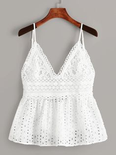 To find out about the Eyelet Embroidery Knot Back Cami Top at SHEIN, part of our latest Tank Tops & Camis ready to shop online today! Look Fashion, Fashion News, Girl Fashion, Fashion Outfits, Lolita Fashion, Fashion Styles, Fashion Boots, Summer Outfits, Casual Outfits